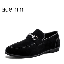 Agemin High Quality Suede Läder Skor Män 2018 Andas Människor Skor Casual Brand New Slip On Man Casual Loafers