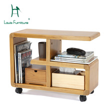 Louis Fashion Coffee Tables Modern Simple Solid Wood Movable Bookshelf Living Room Storage CabinetChina