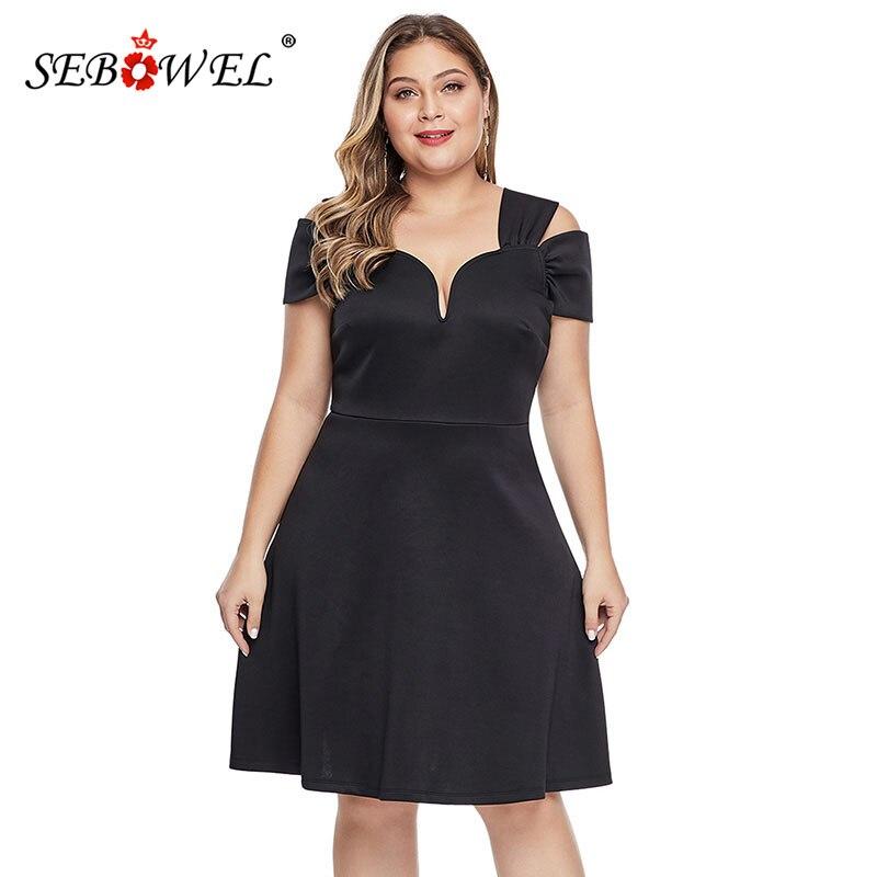 SEBOWEL Summer Black Plus Size Short Sleeve Dresses Woman 2019 Elegant Ladies Formal Party Large Blue A-line Dress XL-5XL