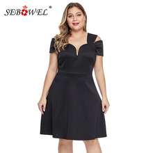 SEBOWEL Summer Black Plus Size Short Sleeve Dresses Woman 2019 Elegant Ladies Formal Party Large Blue A-line Dress XL-5XL