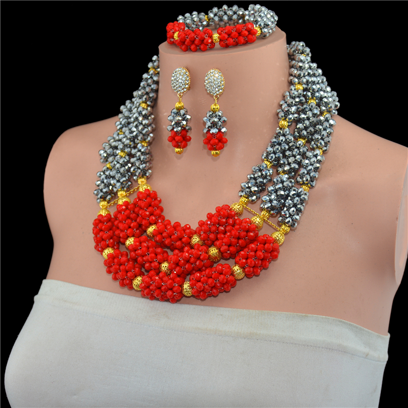 Crystal Costume African Jewelry Sets Gold-color Chunky Nigerian Beads Wedding Jewelry Set Bridal Statement Jewelry Set Free Ship цена