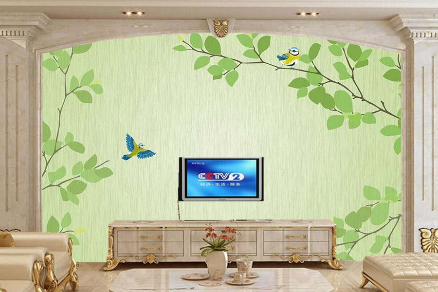 Large murals fresh green twig bird modern simple tv for Mural 3d simple