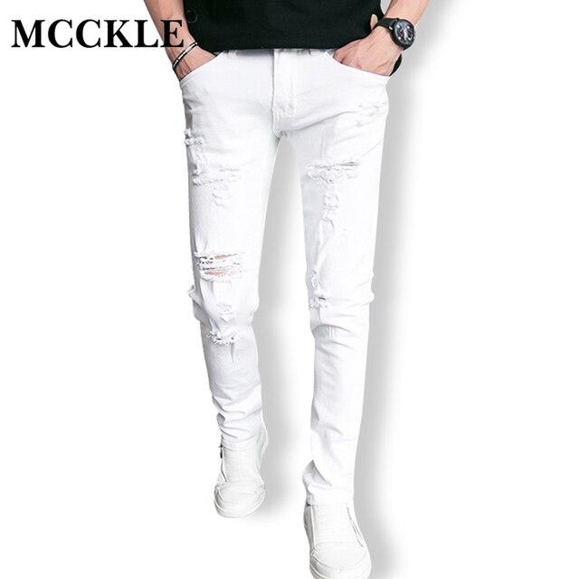witte jeans gaten mannen broek denim hip hop ripped bodycon skinny