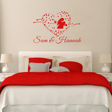 Custom Personalized Lovers and Couples Name Heart Wall Stickers Art Vinyl Wall decals for Home Decoration Wedding Gift