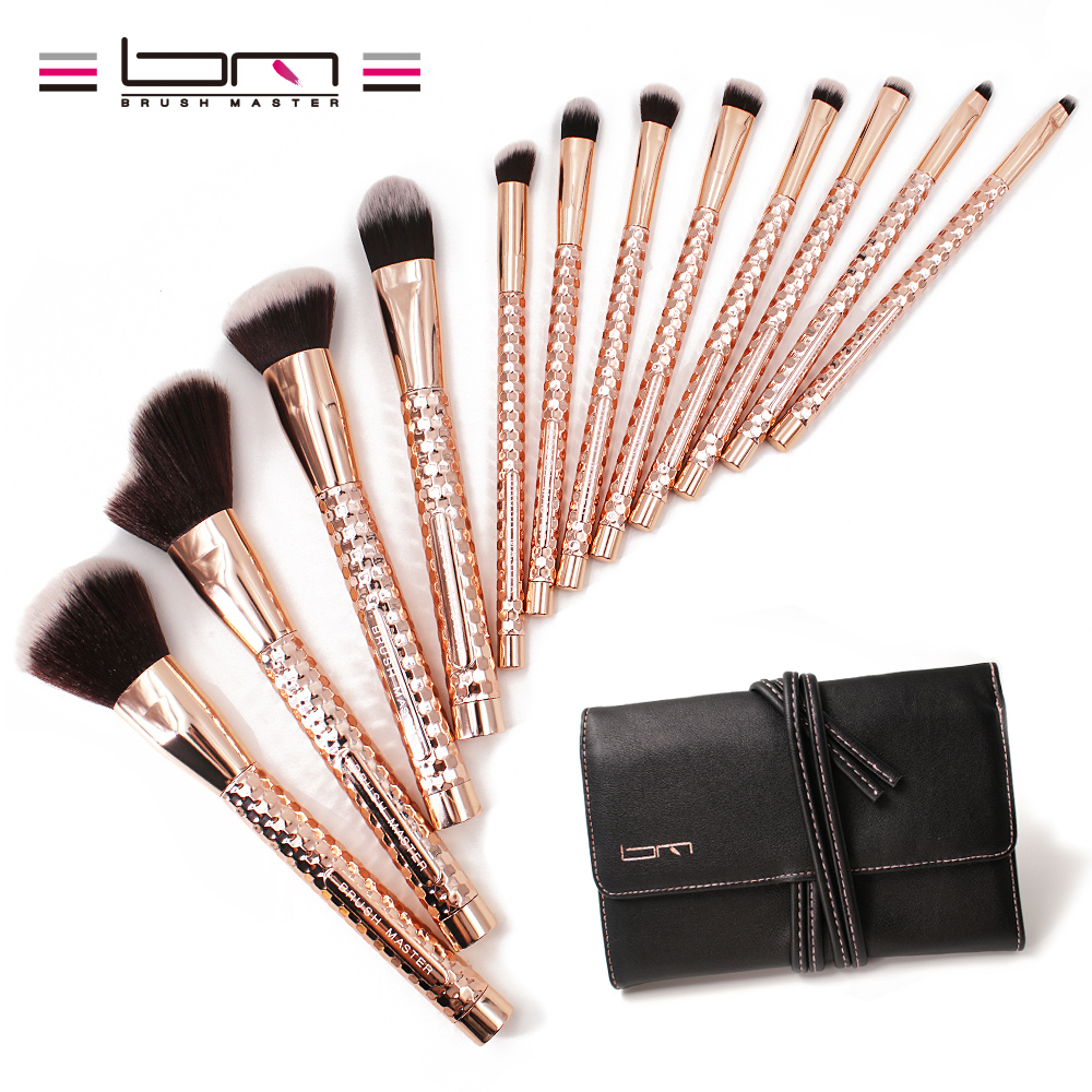 BM Brush Master 12PCS Professional Vegan Makeup Brush Set Shiny Gold Powder Foundation Eyebrow Eyeliner Blush Concealer Brushes fashion 10pcs professional makeup powder foundation blush eyeshadow brushes sponge puff 15 color cosmetic concealer palette