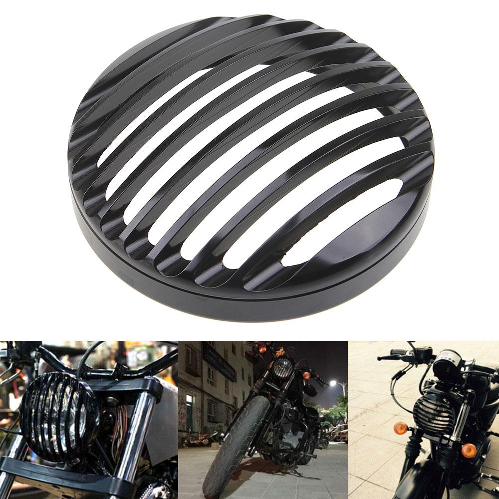 Black 5 3/4 Aluminum Motorcycle Headlight Grill Cover for 2004 2014 Harley Sportster XL 883 1200 Head Light Cover