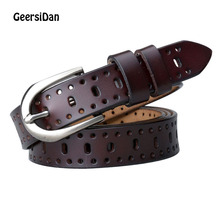 GEERSIDAN Designer women genuine leather belt brand high quality hollow decoration for lady Fashon pin buckle female