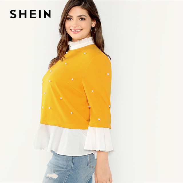 SHEIN Pearl Beaded Ruffle Stand Collar Butterfly Sleeve Ginger Plus Size Womens Blouse 2018 Patchwork Ruffle Hem Autumn Blouse 2