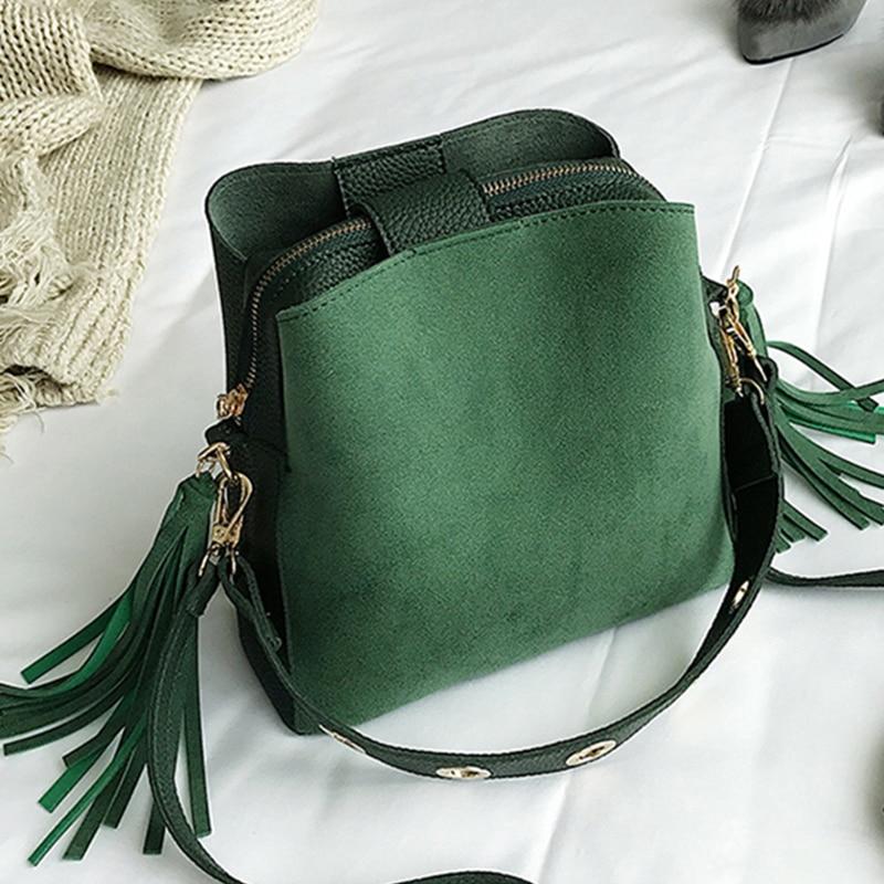 LJL Fashion Scrub Women Bucket Bag Vintage Tassel Messenger Bag High Quality Retro Shoulder Bag Simple Crossbody Bag Tote