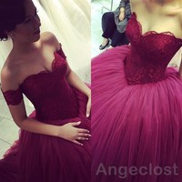 Burgundy Ball Gown Lace Prom Dresses 2017 Sweetheart Off Shoulder Applique Long Evening Party Gown Special