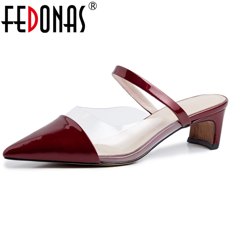 FEDONAS High Quality Blingbling Patent Leather Women Pumps New Fashion Sexy Pointed Toe Party Shoes Sandals Summer Shoes WomanFEDONAS High Quality Blingbling Patent Leather Women Pumps New Fashion Sexy Pointed Toe Party Shoes Sandals Summer Shoes Woman