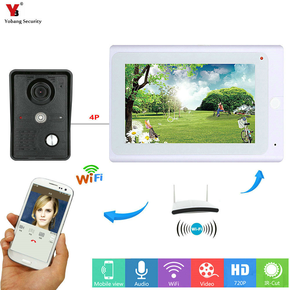 все цены на Yobang Security White 7 Inch Monitor Wifi Wireless Video Door Phone Doorbell Video Entry Door Intercom KIT APP Remote Control онлайн