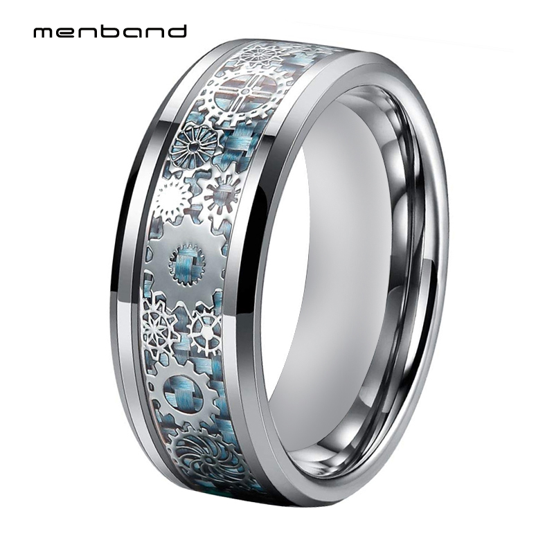 Silver Men Ring Tungsten Wedding Band With Mechanical Gear Wheel And Light Blue Carbon Fiber Inlay Beveled Edges Comfort Fit