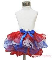 Июля америка отечественной красный белый синий лепесток юбка танец с бантом NB-8Y B263 N223
