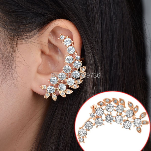 1pc Fashion Golden Rhinestone Leaf Earrings Clip New Design Crystal Flower Leaves Jackets Women Punk