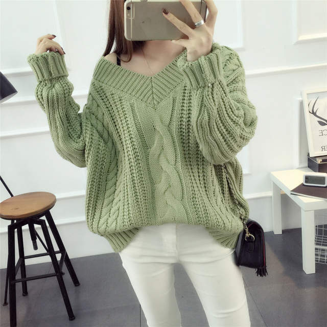 Online Shop New Women Knitted Twist Pullover Sweater Autumn and Winter  Thicker Warm Crochet Sweater V-Neck Female Casual Sweater Jumpers  0b093d3ca