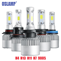 All In One COB Chips Bulb Car Headlight Led Front Lamp White 6500K H4 Plug Style
