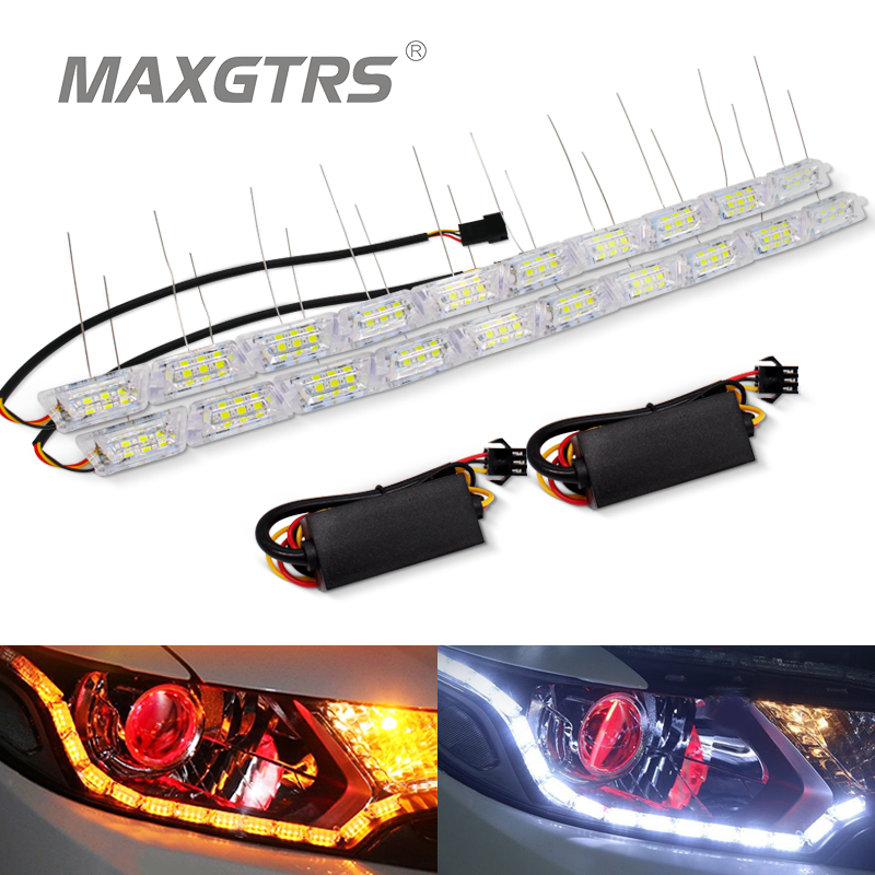 2x Mobil Fleksibel Putih / Kuning Switchback LED Knight Rider Strip Cahaya untuk Headlight Flasher Sekuensial Warna Ganda DRL Turn Signal