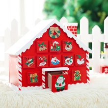 XMAS Cute House with Drawer Decoration Creative Wooden Christmas House, Candy Storage for Advent Calendar Count down
