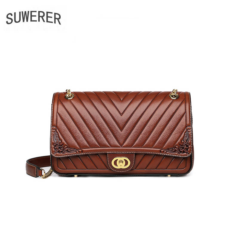 SUWERER 2019 New Luxury women genuine leather bag brands top cowhide embossing bag fashion Chain bag women leather shoulder bagSUWERER 2019 New Luxury women genuine leather bag brands top cowhide embossing bag fashion Chain bag women leather shoulder bag