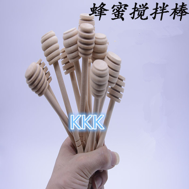 20 PCS 15cm long Mini Wooden Honey Stick Honey Dippers Party Supply Wood Honey Spoon Stick for Honey Jar Stick