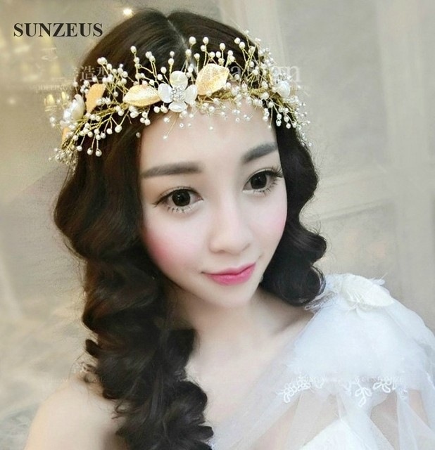 New Stock Pearl Tiara Bridal Forehead Jewelry Gold Leaf Wedding Hair