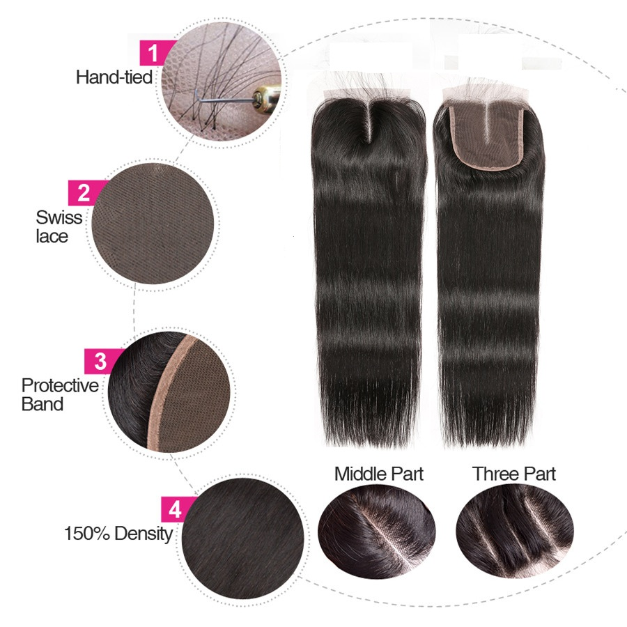 4x4 Lace Closure Brazilian Hair Straight Hair Bundles Remy - Menneskehår (sort) - Foto 3