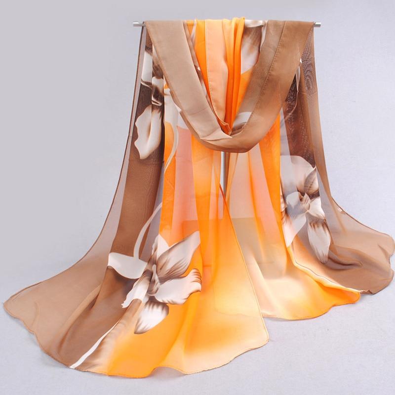 2019 nueva mujer bufanda larga árabe hijab impresión de seda gasa poliéster bufandas moda mantón 160 cm * 50 cm envío de la gota FQ042