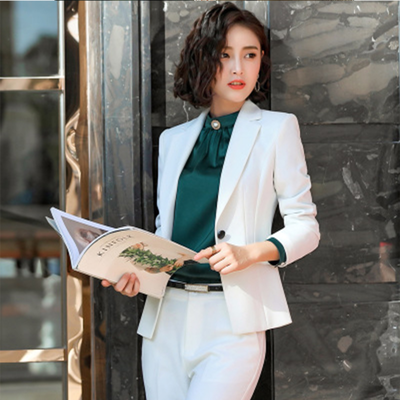 Women Suit 4puls Size Jackets New Fashion Two Piece Blazer And Skirt Pant Casual White Long Sleeves Suit Autumn 2019 Office Suit