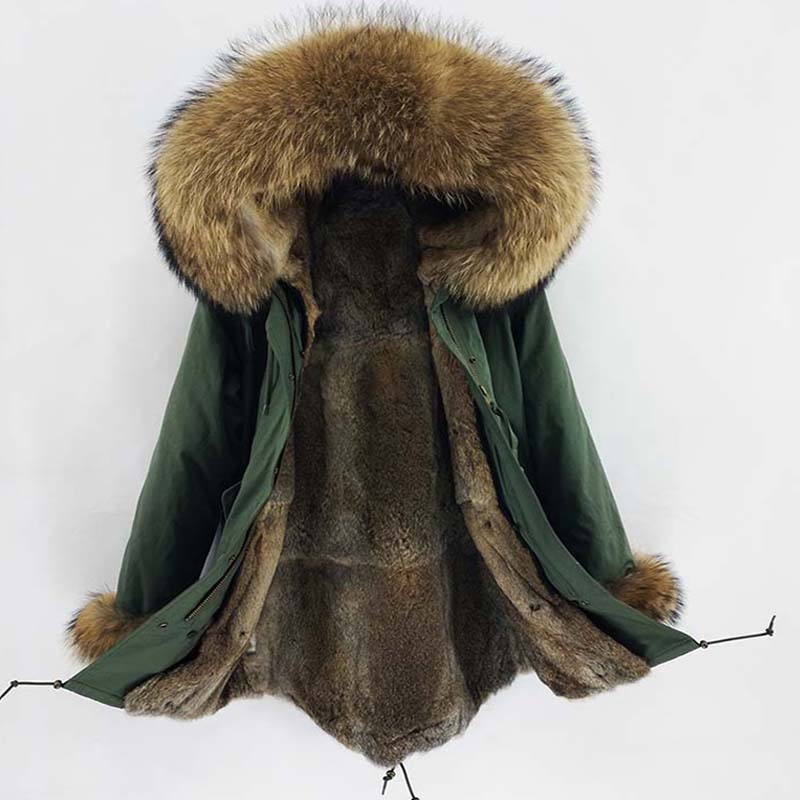 Real Fur   Parka   Men Winter Jacket Real Rabbit Fur Hooded Coats Nature Raccoon Dog Lining Jacket Man Real Fur Coat