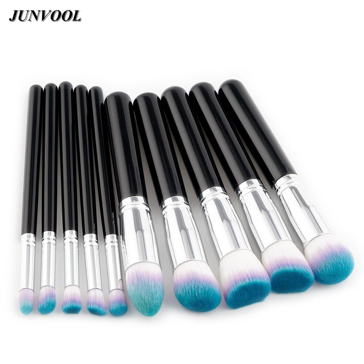 10 Pcs Blue Hair Makeup Brush Set Black Silver Cosmetics Foundation Blending Blush Makeup Tool Powder Eyeshadow Cosmetic Set bob cosmetic makeup powder w puff mirror ivory white 02
