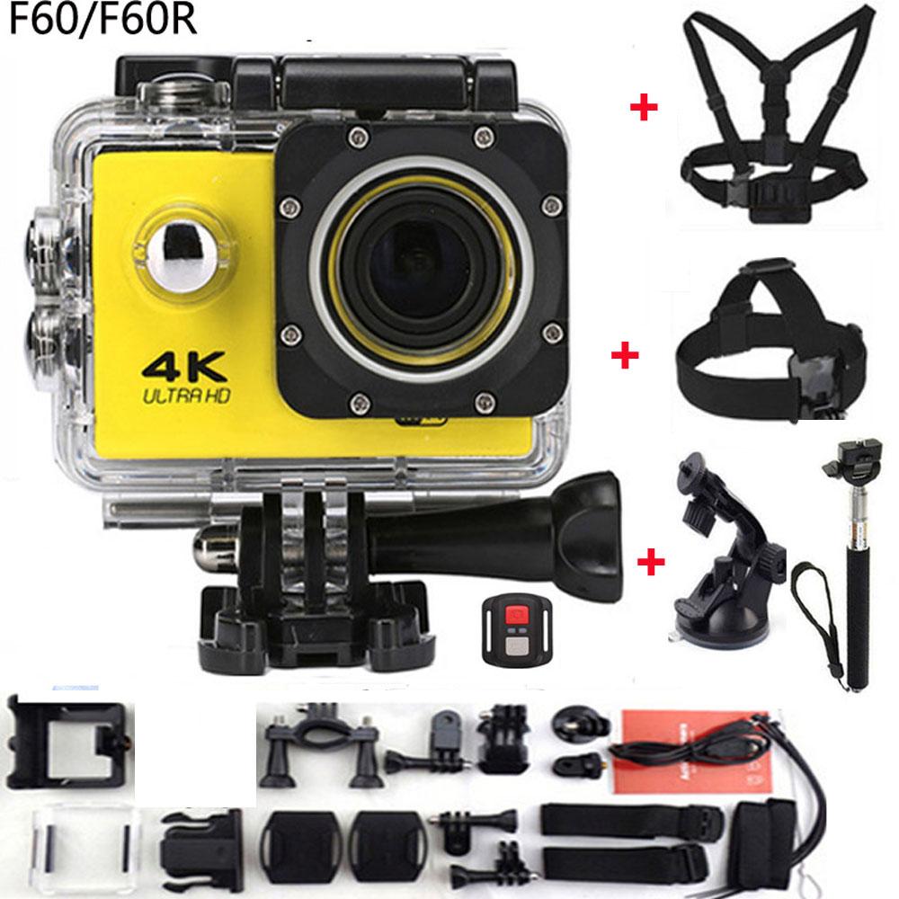 Prix pour Gopro hero 4 style f60/f60r wifi action camera 4 k Télécommande Extreme go pro Mini Plongée Cam Étanche Sport caméra
