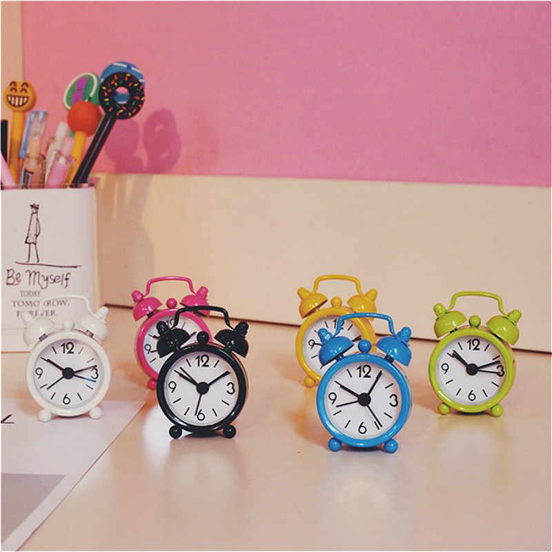 קטן מיטה מעורר Twin פעמון שקט סגסוגת נירוסטה מתכת שעון מעורר Digitale Klok Creative חמוד מיני מתכת שעון מעורר @ 3