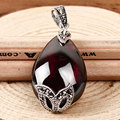 Natural stones green agate chalcedony Synthetic garnet necklaces pendants 925 sterling silver jewelry for women