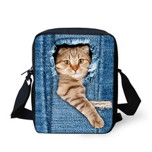 FORUDESIGNS Women Messenger Bags 3D Denim Animal Shoulder Bag Handbags Cute Cat Messenger Bags Children Crossbody Bag for Girls