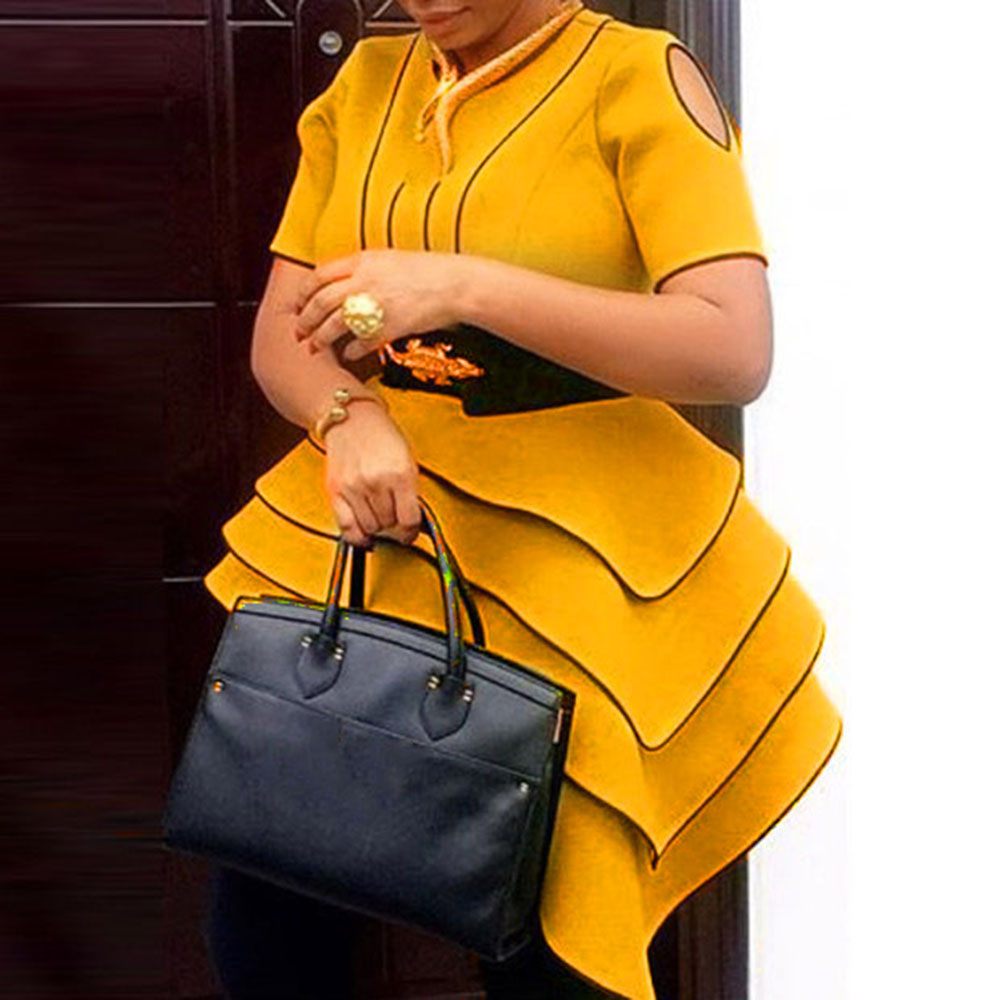 African Women Yellow Blouses Party Summer Short Sleeve Tops Elegant Plus Size Vintage Stripe Office Ladies Retro Ruffles Shirts