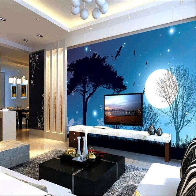Dekorasi Rumah Latar Belakang Foto Wallpaper Untuk Ruang Tamu Malam Bulan Bintang Pohon Murals