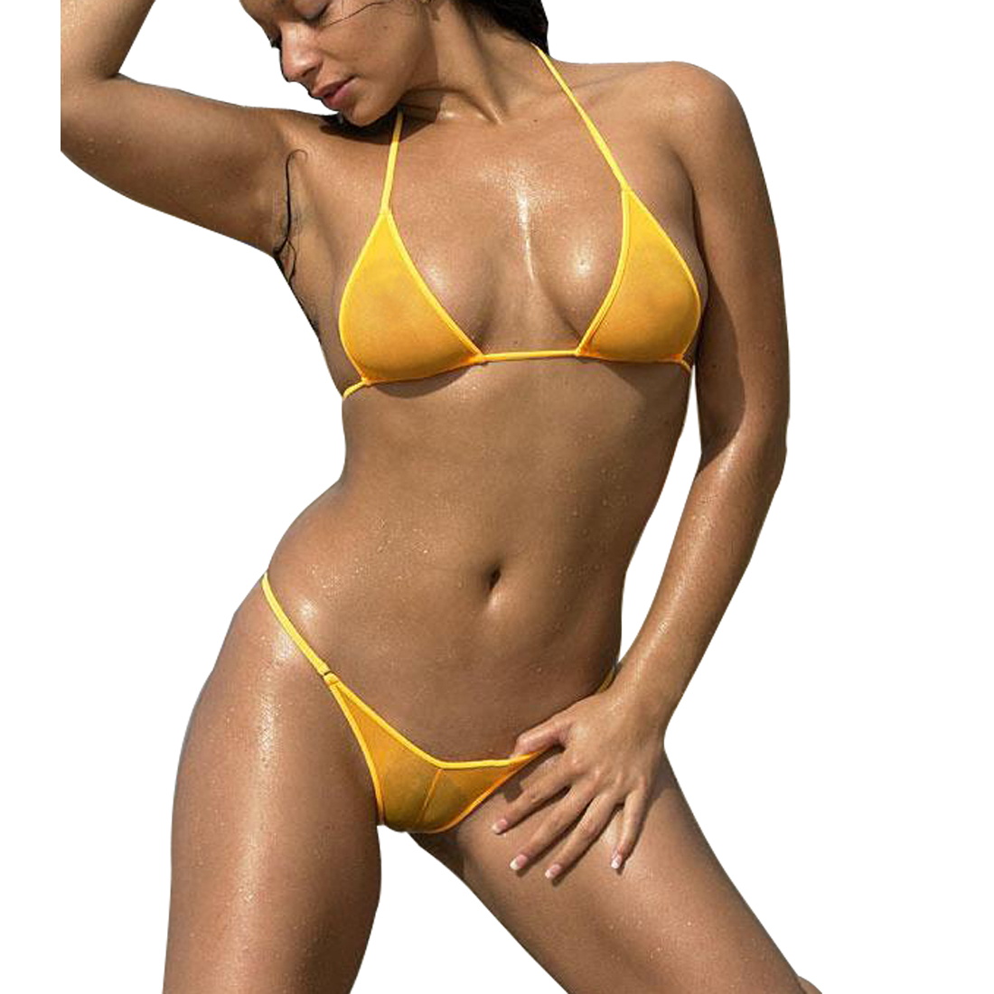 Sexy Sheer <font><b>Bikini</b></font> Triangle Top and <font><b>Brazilian</b></font> Thong Bottom See Through Mesh Swimsuit Women Beach <font><b>Sex</b></font> Swimwear Female Swim Costume image