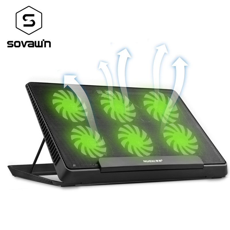 6 LED Fan Cooling Pad Aluminum Laptop Cooler Pad Stand for 17 15.6 inch USB Cooler Notebook Base Holder Adjustable Speed best price 4pcs notebook accessory laptop stand heat reduction pad cooling feet stand holder lapdesk notebook stand 0 96