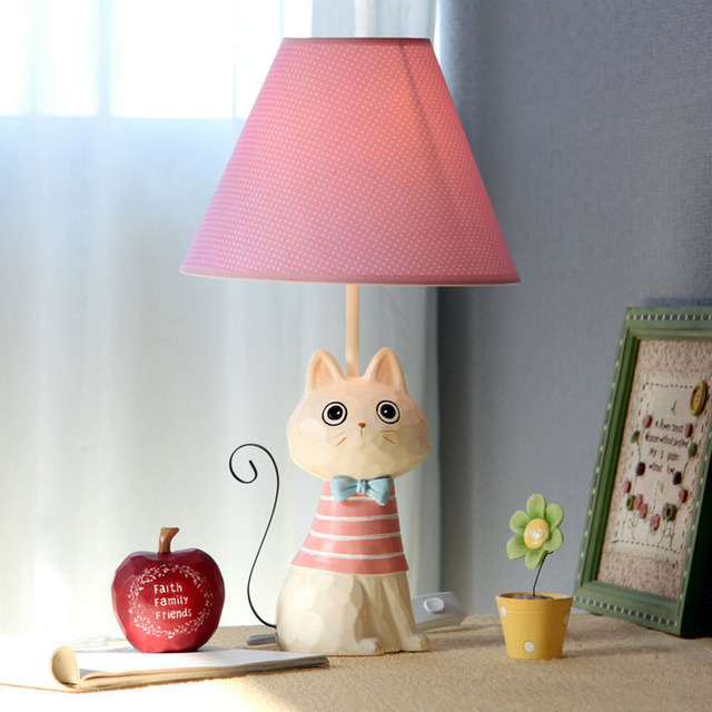 Child Bedroom Table Lamps Cartoon Cute Cat Model Iron Tail Fashion Creative Novelty  Desk Lamp Home