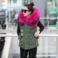 2016 плюс размер марка осень зимняя куртка пальто женщин parka 100% реальный большой Енота меховым воротником с капюшоном вышитые пальто меховой жилет
