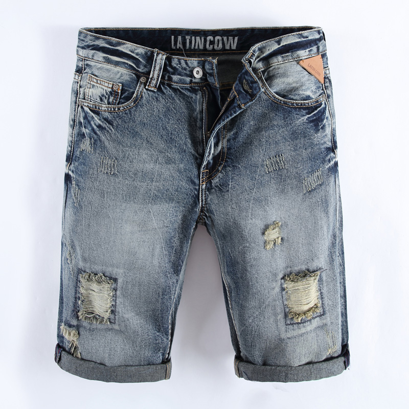 Italian Style Fashion Mens Jeans Shorts Summer Youth Streetwear Knee Length Denim Shorts Men Latin Cow Brand Ripped Short Jeans italian visual phrase book