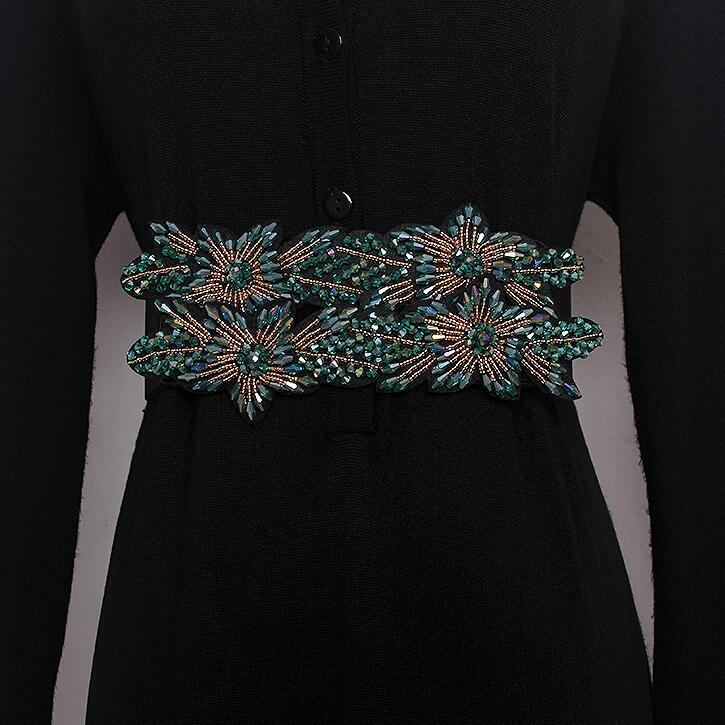 Women's Runway Fashion Diamonds Beaded Elastic Cummerbunds Female Dress Corsets Waistband Belts Decoration Wide Belt R1696