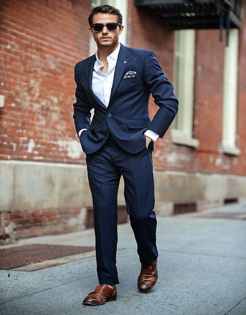 Fitted Navy Suit Dress Yy