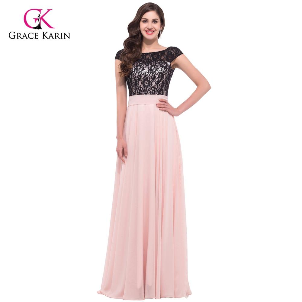 Elegante rosa lange schwarze spitze abendkleider 2017 grace karin ...