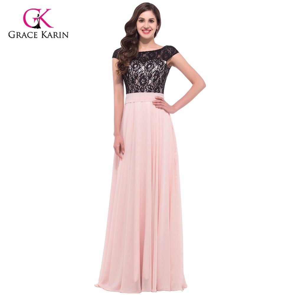 Vestido largo rosa con encaje negro