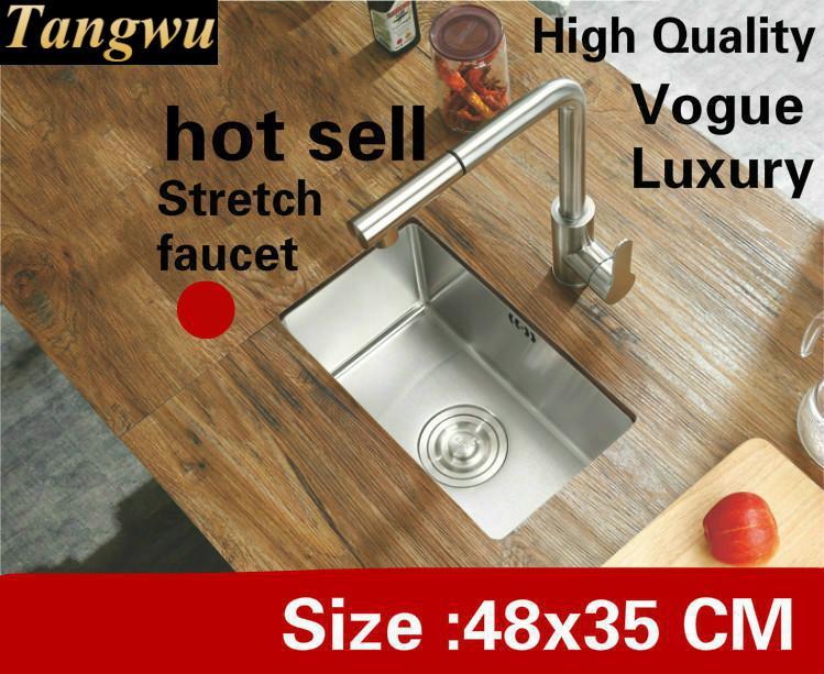 Livraison gratuite appartement cuisine manuel évier simple auge mini luxe robinet extensible 304 acier inoxydable vente chaude 480x350 MM