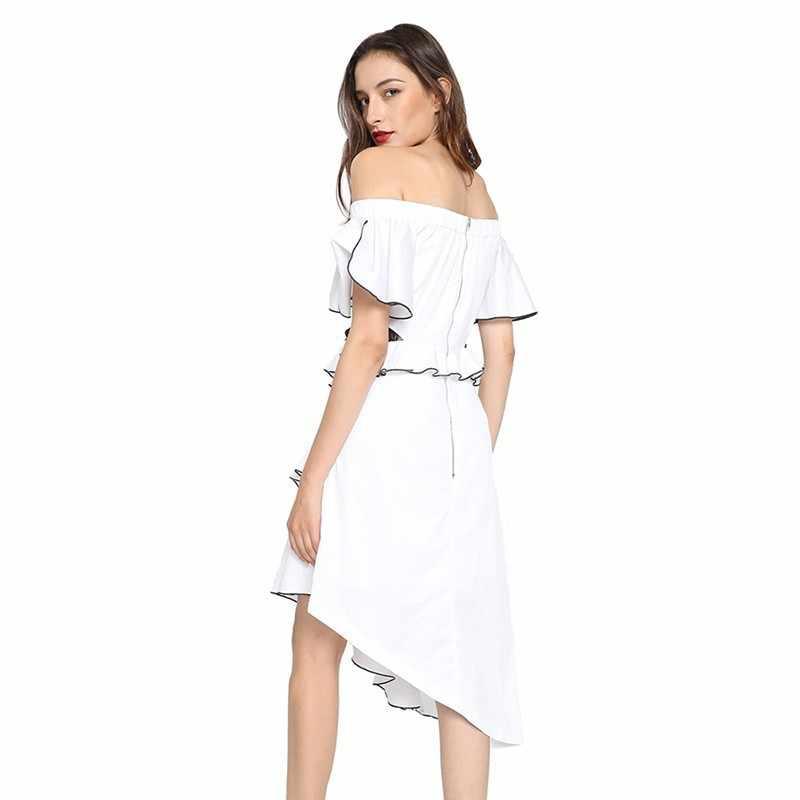CHICEVER асимметричное летнее платье с оборками для женщин с открытыми плечами сексуальное кружевное платье вечернее женское 2019 Большие размеры