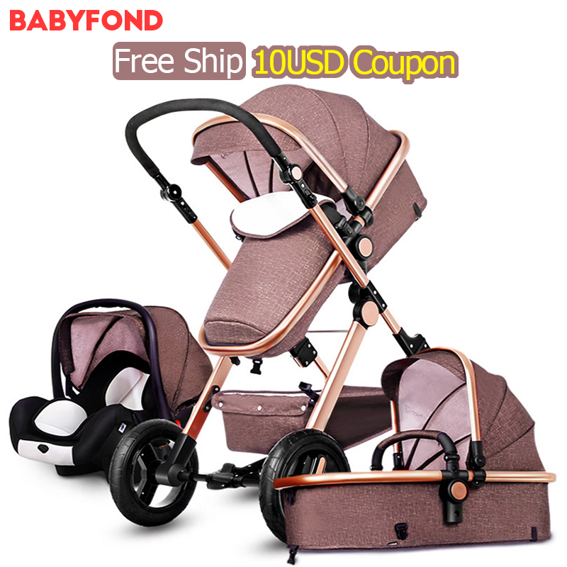 RU Free Ship! 3 in 1 baby strollers and sleeping basket newborn baby carriage 0~36 months Europe baby pram gold frame baby car