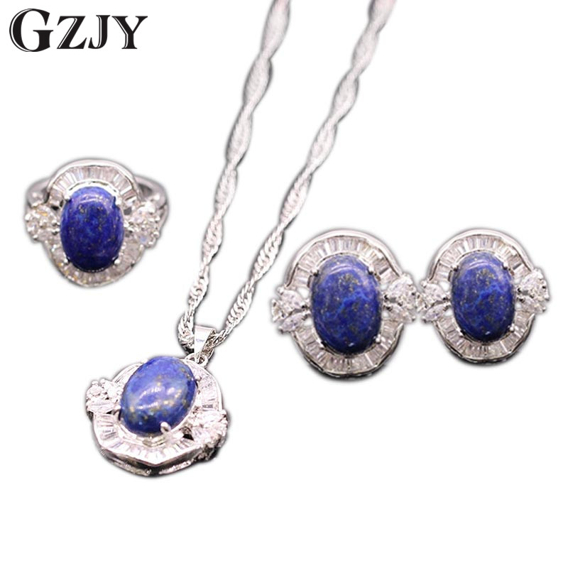 GZJY Gorgeous Lapis lazuli&White Zircon Pendant Earrings Ring Jewelry Set For Women Patry Accessories Jewelry pair of gorgeous rhinestoned floral jewelry earrings for women